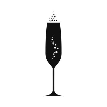 Champagne goblet illustration. Vecor.