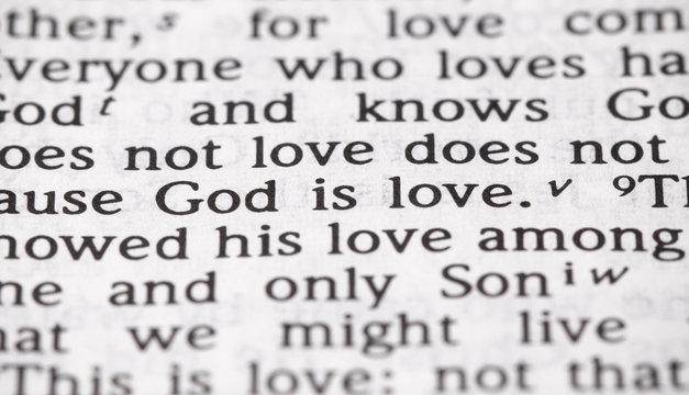Bible Verse God is Love in Narrow Focus
