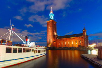 Stockholm City Hall at night in the Old Town in Stockholm, capital of Sweden
