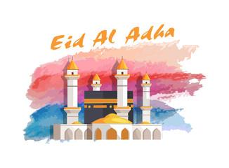Eid Al Adha Muslim Holiday Banner with Mosque