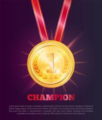 Champion Poster Text Sample Vector Illustration