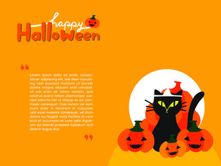 """Wallpaper of black cat surrounded with Jack-O-Lantern pumpkins and hand written word """"Happy Halloween""""  on yellow orange background and copy space. Used as a template for sale promotion or else."""