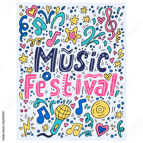 Music festival - handdrawn illustration with musical