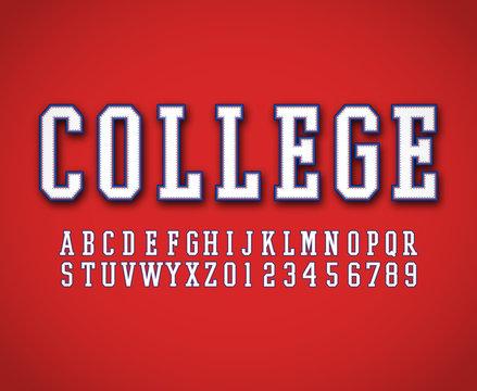 Classic college font vector