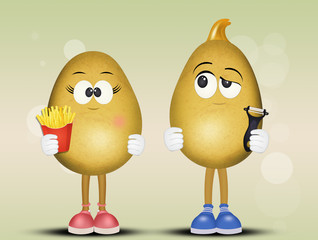 illustration of potatoes with funny face