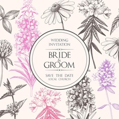 Vector elegant wedding card with meadow flowers