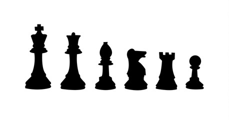 All chess figures, isolated on white background