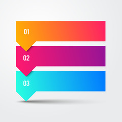 Vector 3 Step Arrow List Colorful Banners Infographic Diagram