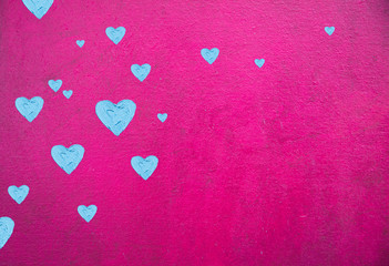Hearts illustration on colorful background. For valentines day illustration. For creativity, imagination, greetings cards, posters.Oil painting on canvas. With brush strokes texture.