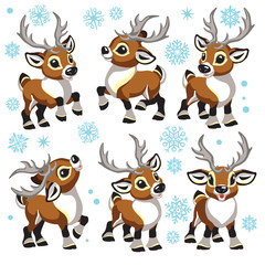 reindeer vector set. Cartoon collection of funny Christmas tiny caribou deer in different poses