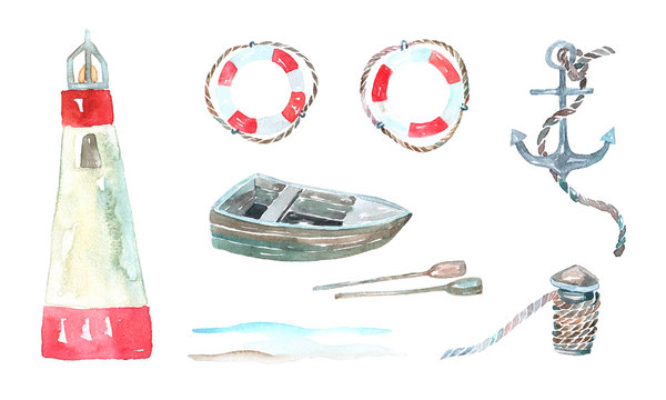 Watercolor illustration. Marine objects set: lighthouse, lifebuoy, boat, oars, anchor, rope.