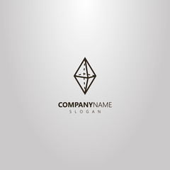 black and white simple vector geometric logo of a transparent diamond stone