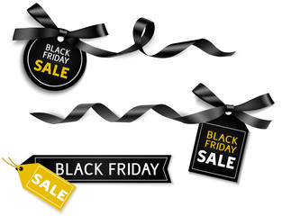 Decorative horizontal black ribbon with bow and sale tag for black friday sale design. Vector decoration and label