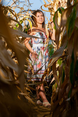 Portrait of a beautiful curly woman posing with the corn in the cornfield on summer