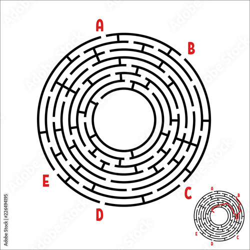 Abstract round maze  Game for kids  Children's puzzle  Five