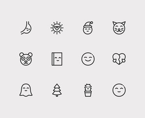 Emoji icons. Set of cute cactus emoji, book cute read and human anatomy vector sign symbols. Vector illustration of party emoticons set for logo web mobile design.