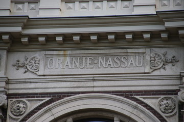 "The family name ""Oranje-Nassau"" on the back of the Noordeinde palace in The Hague, the working palace of king Willem-Alexander."