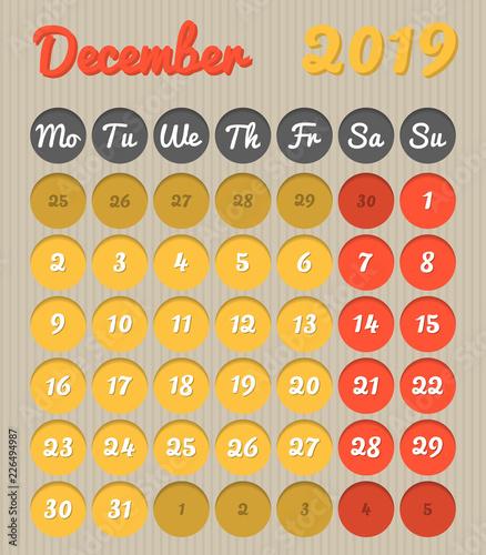 December 2019 Calendar Modern Modern month planning calendar in English for December 2019