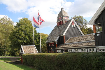 Nordic seamans church in park along Westzeedijk in Rotterdam the Netherlands