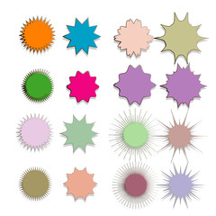 collection of doodle hand drawn starburst icon,symbol,sticker,label,banner in color style.isolated on white background