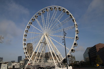 Ferris wheel at the city center of Rotterdam at the Markthal downtown to see the whole city