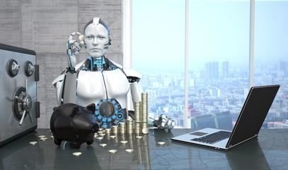 Humanoide Roboter mit Euromünzen, Safe, Sparschwein und einem Notebook auf dem Tisch