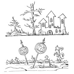 Hand drawn doodle cartoon elements of Halloween.