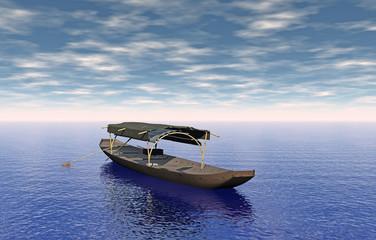 Asiatisches Holzboot mit Dach