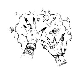 Witch hands with magic happens around. Concept design  for print, poster, tattoo, sticker, card. Vintage vector illustration