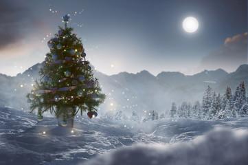 Weihnachtsbaum in Winterlandschaft