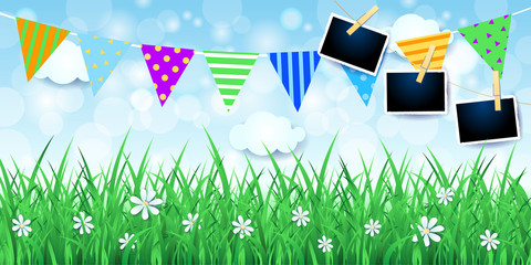 Spring background with festoon and photo frames