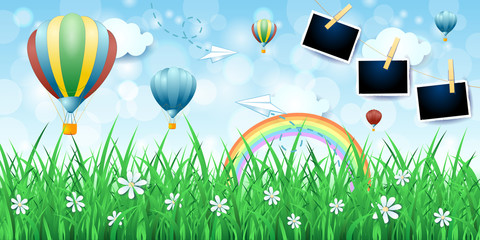 Spring background with balloons and photo frames