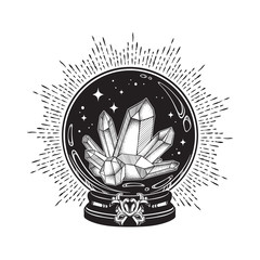 Hand drawn magic crystal ball with gems line art and dot work. Boho chic tattoo, poster or altar veil print design vector illustration.