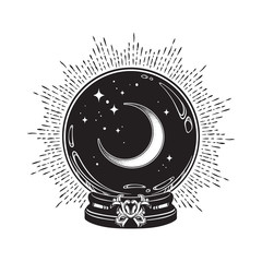 Hand drawn magic crystal ball with crescent moon and stars line art and dot work. Boho chic tattoo, poster or altar veil print design vector illustration.