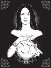 Beautiful brunette witch with magic crystal ball with crescent moon in her hands line art and dot work. Boho chic tattoo, poster, tapestry or altar veil print design vector illustration.