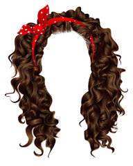 trendy woman curly  long  hair  with red bow. realistic  3d .  hairstyle  brown. fashion beauty style .