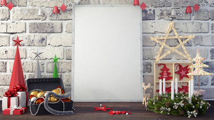Mock Up Pictures Frame and Christmas decoration and gifts 3d Render 3d illustration