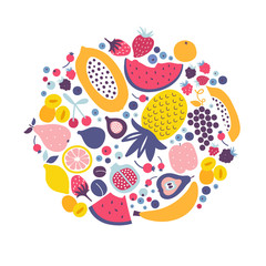 Vector cartoon fruit set
