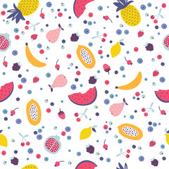 Vector seamless pattern with cartoon fruits and berries.