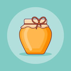 Jar of honey flat line icon. Vector illustration.