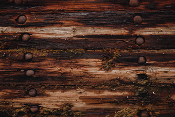 Background is old dark wooden from ship and rusty nails.