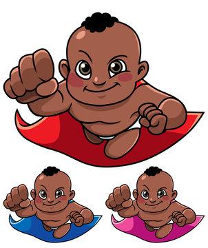 Full length illustration of super baby smiling while flying.