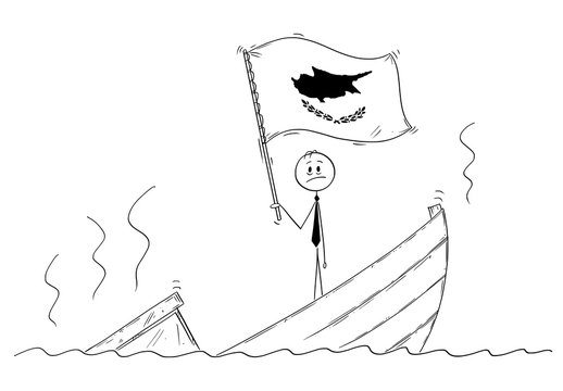 Cartoon stick drawing conceptual illustration of politician standing depressed on sinking boat waving the flag of Republic of Cyprus.