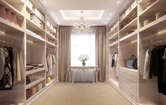 Beige luxury dressing room with crystal chandelier