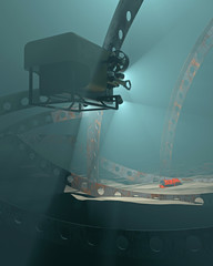 3D render of an ROV discovering a flight data recorder in an undersea crash debris field. Fictitious UAV and flight recorder, Murky water to emphasize depth and for dramatic effect
