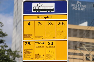 Sign of all tram streetcars which stops at stop Kruisplein in Rotterdam in the Netherlands