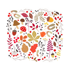 Vector autumn cartoon set with fall leaves, mushrooms and berries.