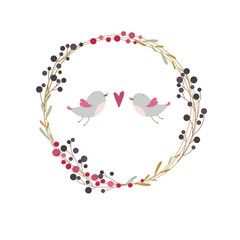 Autumn botanical wreath with berries, branchlets and two birds in love.
