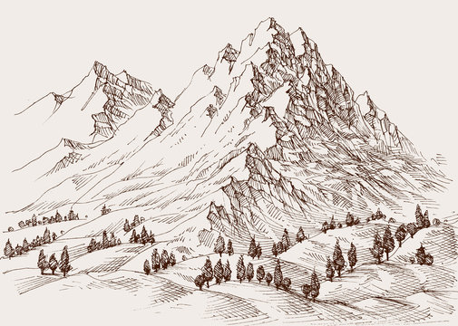 High mountains, surrounding hills and alpine meadows