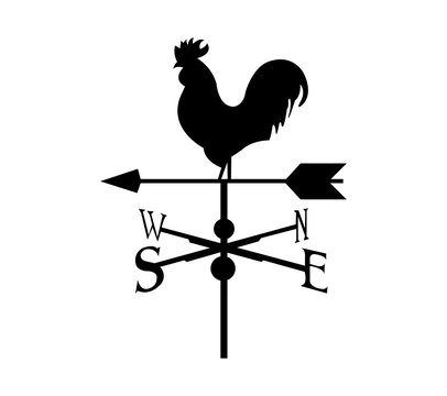 Black rooster compass, isolated on white
